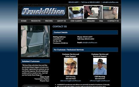 Screenshot of Contact Page mobileduz.com - Contact TruckOffice | Innovative Storage Systems | Organized Truck Cabs for a Mobile Office - captured Oct. 9, 2014