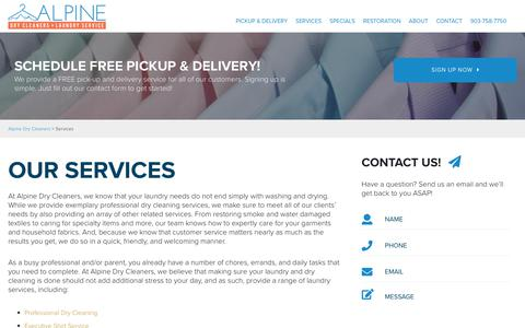 Screenshot of Services Page alpinedrycleaners.com - Services | Alpine Dry Cleaners - captured Nov. 6, 2018