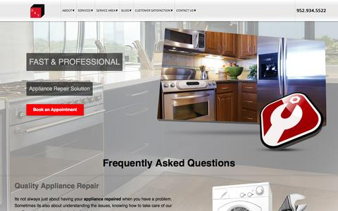 Screenshot of FAQ Page dtappliance.com - FAQ - D & T Appliance Appliance Repair - captured Oct. 5, 2014