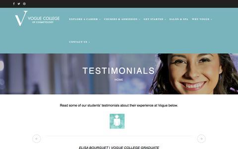 Screenshot of Testimonials Page vogue.edu - Testimonials – Vogue College of Cosmetology - captured Oct. 26, 2017