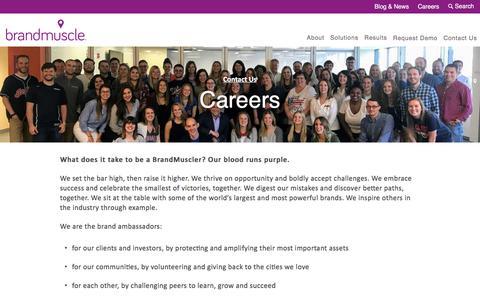 Screenshot of Jobs Page brandmuscle.com - Brandmuscle Careers & Marketing Jobs | Brandmuscle - captured Jan. 19, 2018
