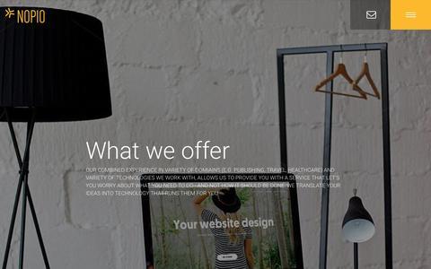 Screenshot of Services Page nopio.com - Nopio - Services - Web technology and design shop - captured Aug. 17, 2016
