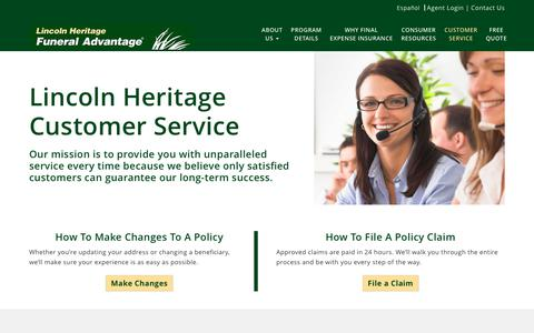Screenshot of Support Page lhlic.com - Customer Service | Lincoln Heritage Life Insurance - captured Sept. 22, 2018