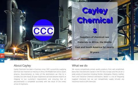 Screenshot of Home Page cayley.co.uk - Cayley Chemicals, International Chemical Traders - captured Oct. 4, 2016