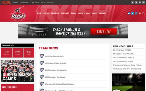 Screenshot of Press Page theaudl.com - Rush News | AUDL - captured Sept. 21, 2018