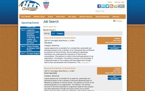 Screenshot of Jobs Page peoriachamber.org - Job Search - Peoria Area Chamber of Commerce, IL - captured Nov. 1, 2016