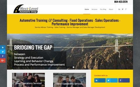 Screenshot of Home Page nextlevelautomotivegroup.com - Automotive Consulting - Service Advisor Training & Sales Training - captured Dec. 18, 2016