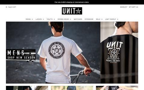 Screenshot of Home Page unit.com - Unit Clothing - captured Sept. 3, 2016