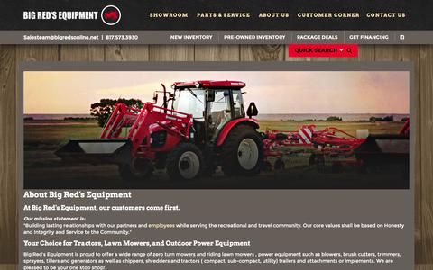 Screenshot of About Page bigredsonline.net - Dealership Information | Big Red's Equipment | Granbury Texas - captured Feb. 7, 2016