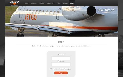 Screenshot of Login Page jetgo.com - Take The Jet - captured Oct. 4, 2014