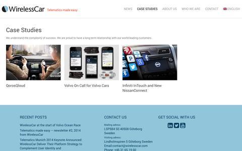 Screenshot of Case Studies Page wirelesscar.com - Case Studies | WirelessCar - captured Nov. 5, 2014