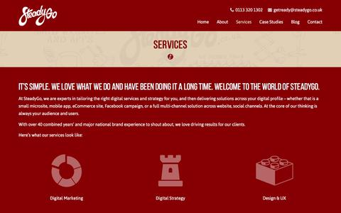 Screenshot of Services Page steadygo.co.uk - Services - SteadyGo - captured Feb. 26, 2016