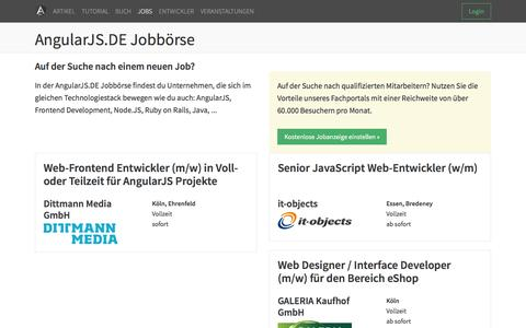 Screenshot of Jobs Page angularjs.de - AngularJS.DE → AngularJS.DE Jobbörse - captured Jan. 18, 2016
