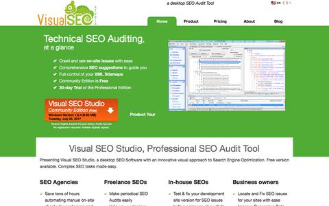 Screenshot of Home Page visual-seo.com - Visual SEO Studio, Professional SEO Audit Tool - captured Oct. 29, 2017