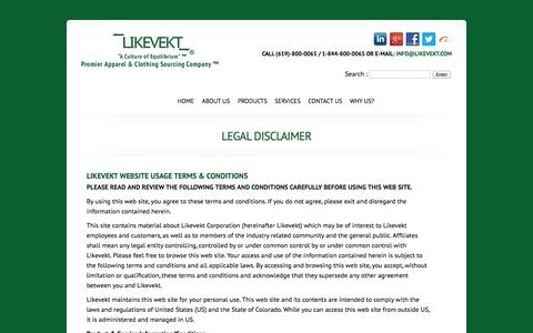 Screenshot of Terms Page likevekt.com - Likevekt Corp. A Premier Apparel & Clothing Sourcing Company. Toll Free 1-844-800-0065. - captured Oct. 1, 2014
