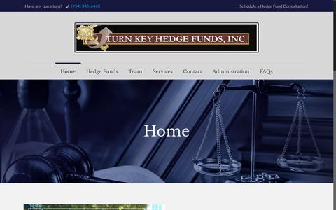 Screenshot of Home Page turnkeyhedgefunds.com - Turn Key Hedge Funds – Hedge Fund Start up Services - captured Dec. 11, 2018