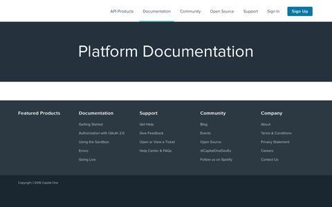Platform Documentation | Capital One DevExchange