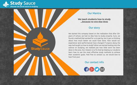 Screenshot of About Page studysauce.com - About us | Study Sauce - captured Oct. 9, 2014