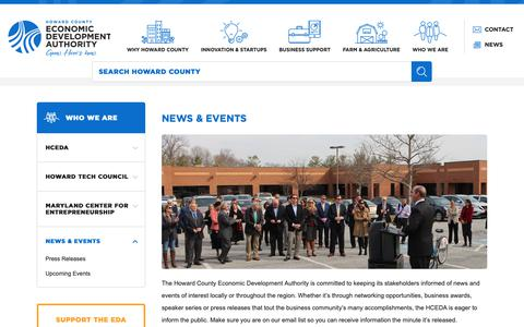 Screenshot of Press Page hceda.org - Howard County Economic Development Authority - News & Events - captured Sept. 30, 2018