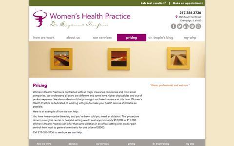 Screenshot of Pricing Page womenshealthpractice.com - Women's Health Practice - captured Sept. 20, 2018