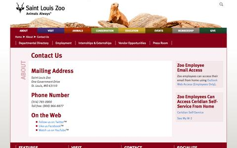 Screenshot of Contact Page stlzoo.org - Contact Us :: Saint Louis Zoo - captured Sept. 23, 2014