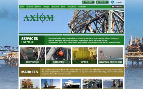 Screenshot of Home Page axiomndt.co.uk - Non Destructive Testing, Rope Access and Ultrasonic Testing are services offered by Axiom - Axiom NDT and Offshore Services - captured Feb. 6, 2016