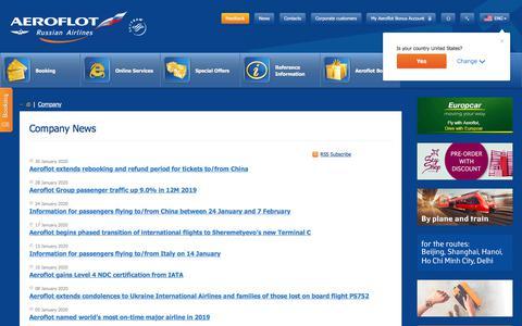 Screenshot of Press Page aeroflot.ru - Company News    Aeroflot - captured Jan. 30, 2020