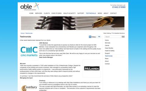 Screenshot of Testimonials Page ableis.co.uk - Testimonials : Able Infrastructure Solutions - captured Oct. 4, 2014
