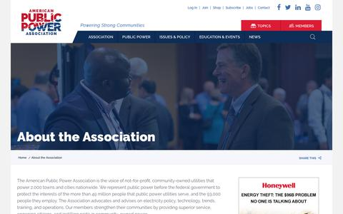 Screenshot of About Page publicpower.org - About the Association | American Public Power Association - captured Sept. 30, 2018