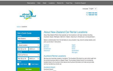Screenshot of Locations Page rentalcar.co.nz - New Zealand Car Rental Locations - About NZ Rental Cars - captured June 30, 2018
