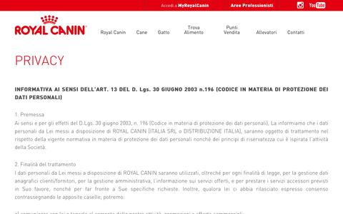 Screenshot of Privacy Page royalcanin.it - Privacy | Royal Canin - captured Feb. 19, 2016