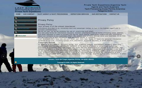 Screenshot of Privacy Page privateyachtexpeditions.com - Privacy Policy - Private Yacht Expeditions-Argentina Yacht Agents and Yacht SuppliersPrivate Yacht Expeditions-Argentina Yacht Agents and Yacht Suppliers - captured Oct. 1, 2014