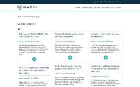 Screenshot of Blog bearstech.com - Bearstech | Le blog - page : 1 - captured Nov. 6, 2018