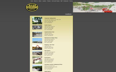 Screenshot of Locations Page riverproducts.com - River Products - captured Oct. 26, 2014