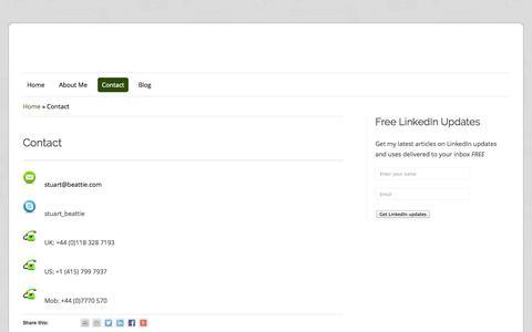 Screenshot of Contact Page stuartbeattie.com - Contact | Stuart BeattieStuart Beattie - captured Oct. 1, 2014