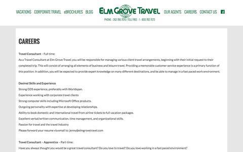 Screenshot of Jobs Page elmgrovetravel.com - CAREERS - Elm Grove Travel - captured July 20, 2015