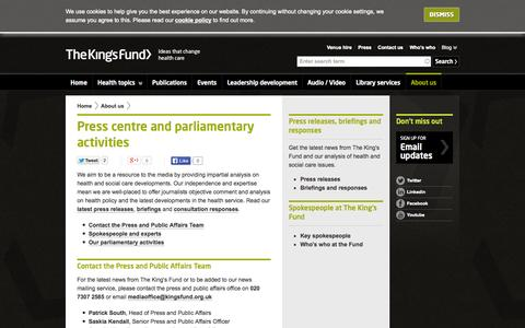 Screenshot of Press Page kingsfund.org.uk - Press centre and parliamentary activities | The King's Fund - captured Sept. 25, 2014