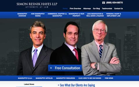Screenshot of Home Page simonresnik.com - Los Angeles Bankruptcy Attorney | Free Consultation | Chapter 7 - captured Oct. 7, 2014