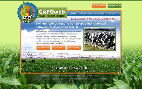 Screenshot of Home Page cafoweb.com - Nutrient Application Forecasting & Compliance Management Software for Dairies & CAFOs | CAFOweb© - captured Sept. 26, 2014