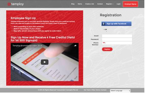 Screenshot of Signup Page temploy.com - Temploy                 Employee Registration - captured Aug. 19, 2016
