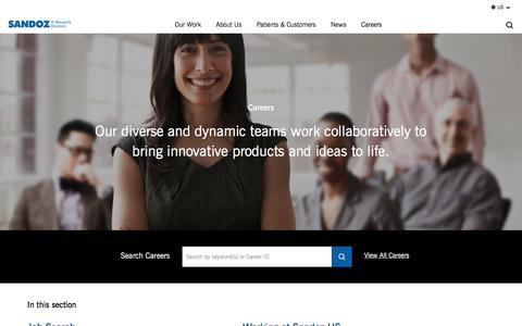 Screenshot of Jobs Page sandoz.com - Careers | Sandoz US - captured Oct. 14, 2017