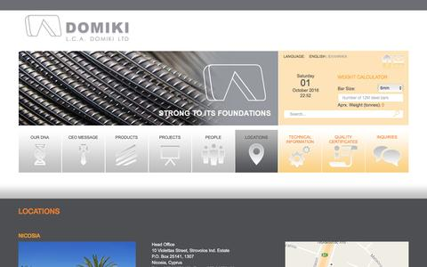 Screenshot of Locations Page domiki.com.cy - L.C.A. Domiki LTD :: Locations - captured Oct. 1, 2016