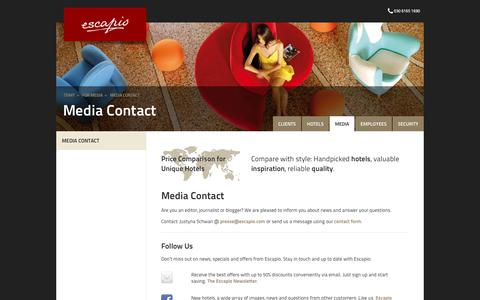 Screenshot of Press Page escapio.com - Media Contact | Escapio Corp - captured Aug. 19, 2017