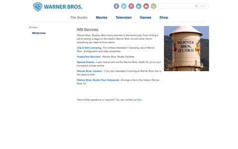 Screenshot of Services Page warnerbros.com - WB Services - WarnerBros.com - The Studio - captured Nov. 2, 2015