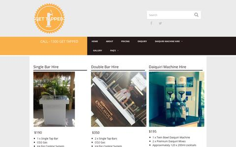 Screenshot of Pricing Page gettapped.com.au - Beverage Packages | Get Tapped | Mobile Bar and Keg Hire - captured Dec. 5, 2015