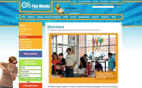Screenshot of Maps & Directions Page attheworks.org - Directions The Works - captured Oct. 7, 2014