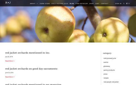 Screenshot of Blog redjacketorchards.com - Red Jacket Orchards - captured July 14, 2018