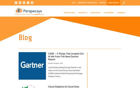 Screenshot of Blog perspecsys.com - Blog | Perspecsys - captured Oct. 22, 2014