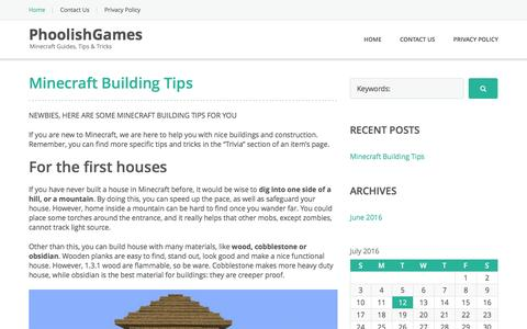 Screenshot of Home Page phoolishgames.com - PhoolishGames - Minecraft Guides, Tips & Tricks - captured July 13, 2016