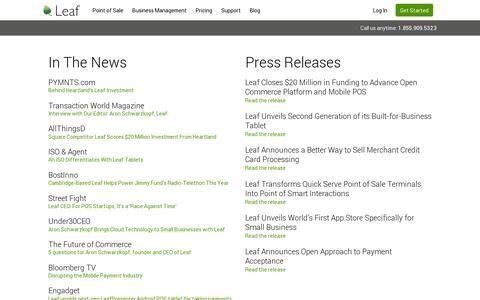 Screenshot of Press Page leaf.me - Press and Media for Leaf POS | Leaf Point of Sale - captured July 19, 2014